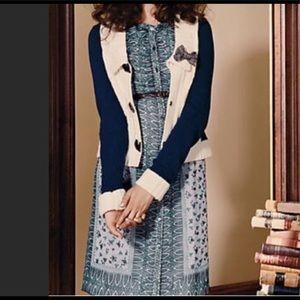 Anna Sui Anthro Silk Chiffon Shift Dress Sz Teal